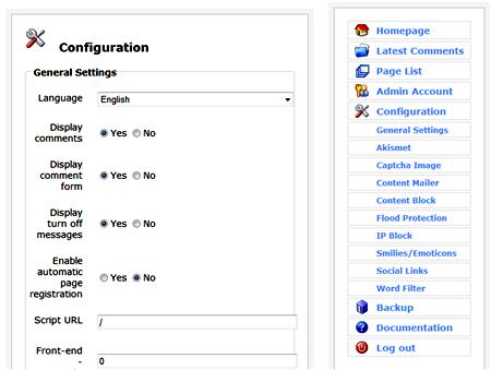 Il pannello di configurazione di Comment Script
