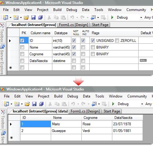 Modificare i dati direttamente da Visual Studio