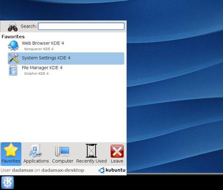 KDE 4 KickOff su Kubuntu