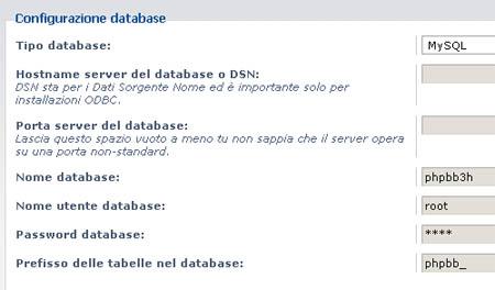 I dati per la connessione al database