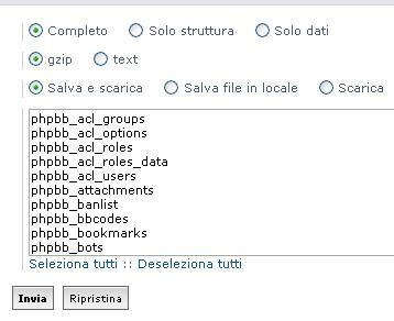 Opzioni di backup di PhpBB