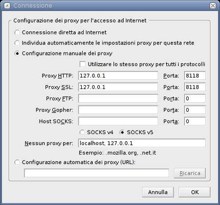 la configurazione del browser
