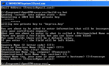 Il risultato del file build-ca.bat