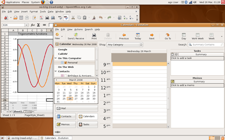 Il desktop di Ubuntu 8.04