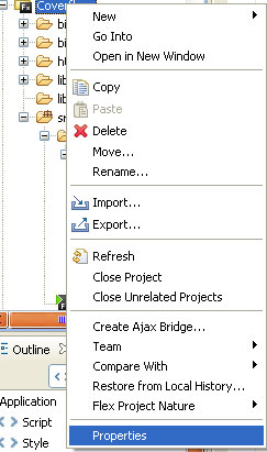 Screenshot del pannello Flex Navigator