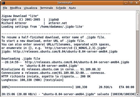 Jigdo mentre scarica la ISO di Ubuntu