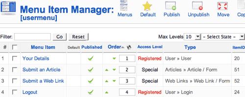 La gestione dello User Menu