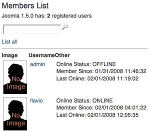 Lista degli utenti registrati