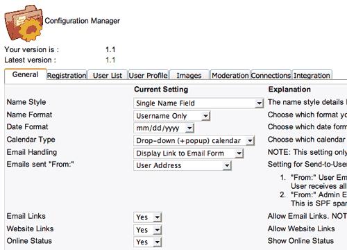 La configurazione di CB: il tab General