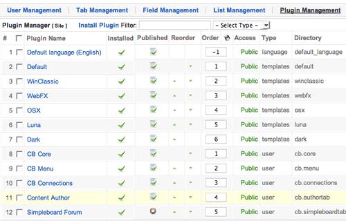 La schermata Plugin Management