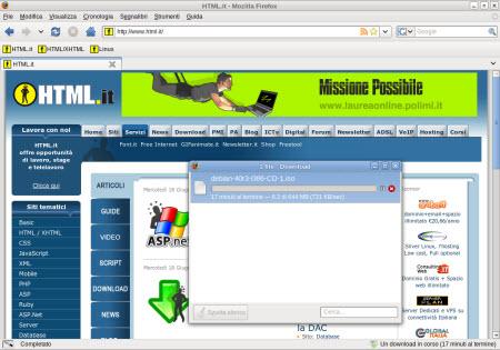 La finestra di download