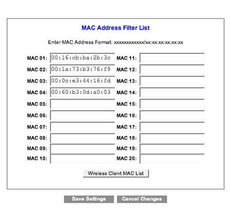 La lista degli indirizzi MAC