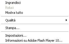 Menu del Flash Player 10