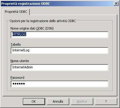 Configurare la registrazione ODBC