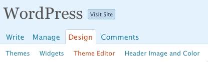 La voce Theme Editor nella Bacheca di WordPress