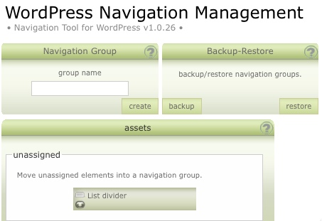 L'interfaccia di WordPress Navigation List