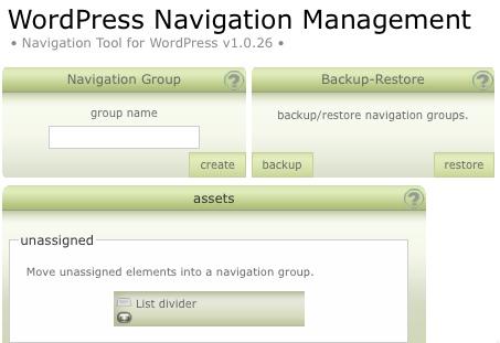 L'interfaccia di WordPress Navigation List