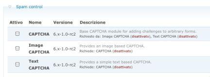 Abilitiamo il CAPTCHA per prevenire lo SPAM