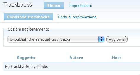 Abilitiamo il modulo Trackback