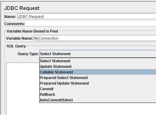 Creazione di un JDBC Request