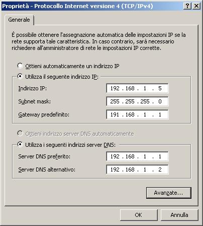 Configurazione dei server DNS