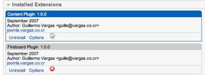 Fireboard plugin si trova in Installed Extension