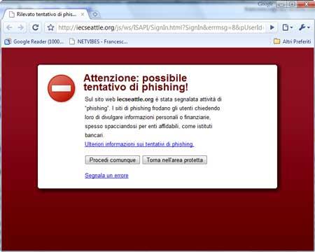 L'avviso antiphishing di Chrome