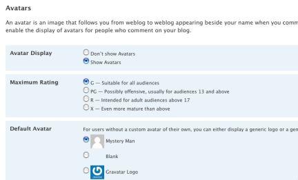 Le impostazioni per gli avatar