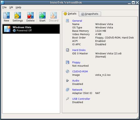 l'interfaccia di Virtualbox
