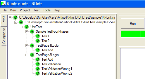Console di test NUnit