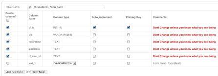 La schermata forms management