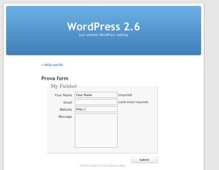 Il form pubblicato su WordPress