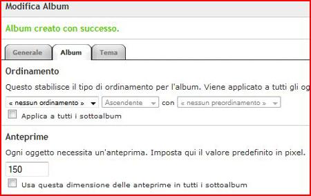 Pagina di configurazione Album
