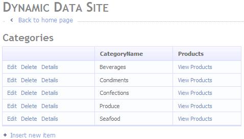 Vista della tabella Categories