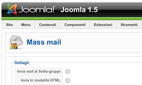 La funzione Mass Mail di Joomla