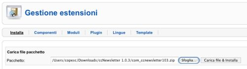 Installiamo ccNewsletter