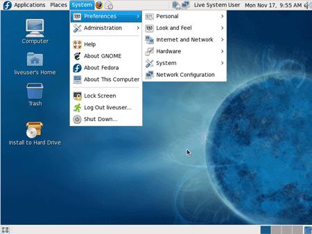 L'ambiente desktop di fedora 10