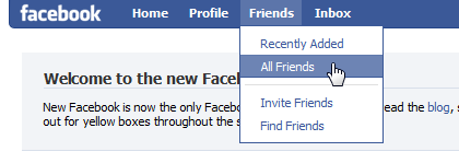 screenshot del menu di Facebook