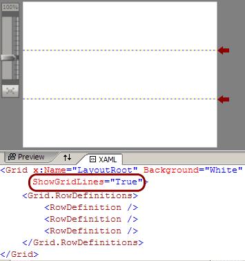 Dividere il layout in tre righe