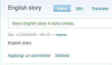 La storia tradotta in inglese