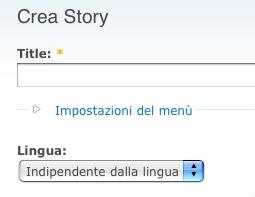 Opzione lingua in crea story