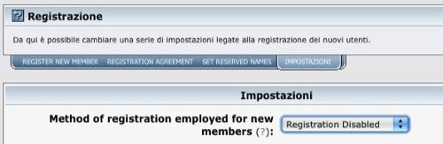 Disabilitiamo la registrazione degli utenti