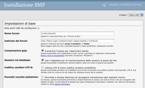 La schermata di installazione di SMF