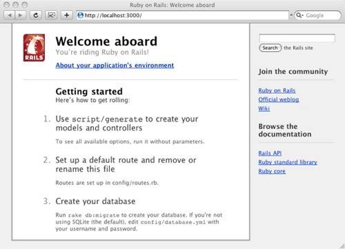 Schermata di benvenuto di Rails
