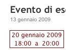 La programmazione dell'evento mostrata in un post