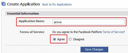 Creare una nuova applicazione Facebook