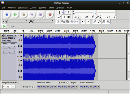 L'interfaccia di Audacity