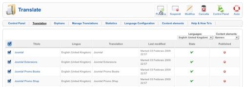 La schermata con le traduzioni