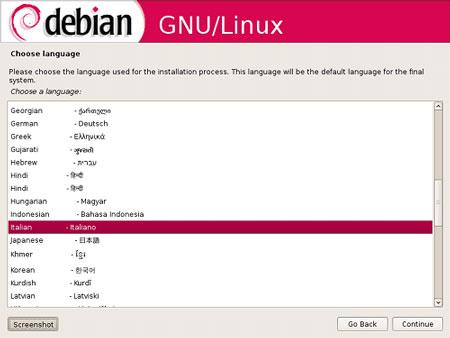 l'installazione di Debian 5.0