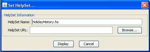 Primo passaggio per selezionare il file di helpset